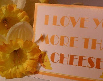 I love you more than cheese, Funny Valentine Card, Valentines Day Card, Humor Card, I love you card, Valentines Day Card, Greeting Cards