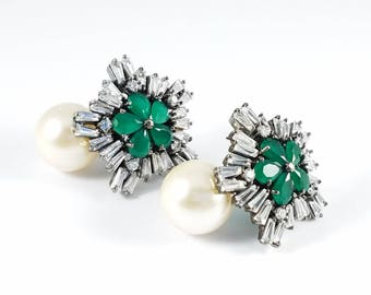 Green Cubic Zirconia Earrings with White Pearl