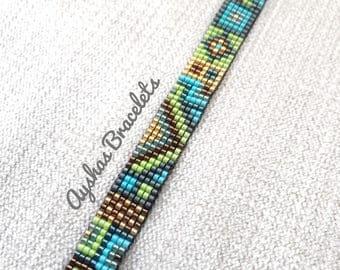 Green Blue Gold Bronze Miyuki Bracelet with black suede ending / Beaded Bracelet / Boho Style / Miyuki Bead Bracelet / Miyuki Delica