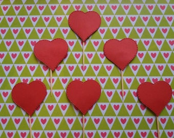Heart Cup Cake Toppers x6