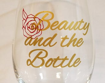 Beauty and the Bottle,Stemless wine glass,Personalized Barware,Bridal Gifts,Gifts for her,Gifts for him,Monogrammed,Vinyl decal