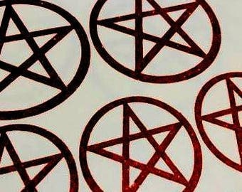 Glitter Pentagram Sticker Enbeltiomment Wall Decal Laptop Sticker Card Topper