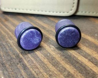13mm Speckled Purple Clay Ear Plugs