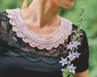 crochet collar/handmade neklace/vintage pink collar/crochet collar neklace/hand knit collar/romantic neklace