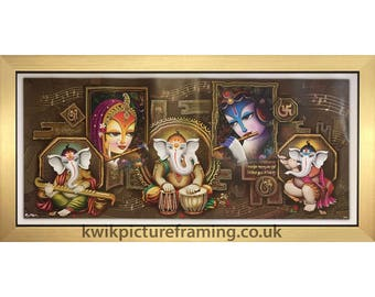 Lord Ganeshaa Vigneshwara With Radha Krishna Hindu God Modern Art Print In Size - 20″ x 10″ Inches