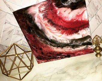 Solar flair-resin, art, abstract, red, decor, wall decor, black, contemporary, sun