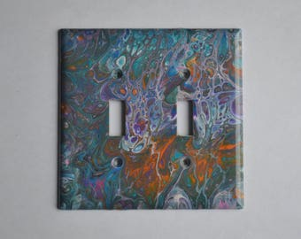 Acrylic pouring on double toggle wall plate #204