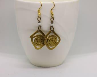 Statement Gold Brass Earrings.