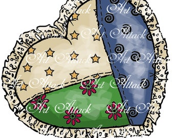 Quilted Cutie Heart digital stamp for coloring, card making and scrap booking