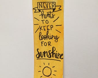 Handmade watercolor sunshine bookmark