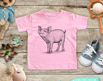 Pig graphic Zoo animal wild kingdom Shirt - Baby bodysuit Toddler youth Shirt cute birthday baby shower gift