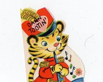 Vintage Tiger Valentine | Darn TootinGreeting Card | Valentine's Day, Valentines, Anthropomorphic | Paper Ephemera