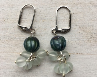 Emerald-Colored Beaded Cluster Earrings