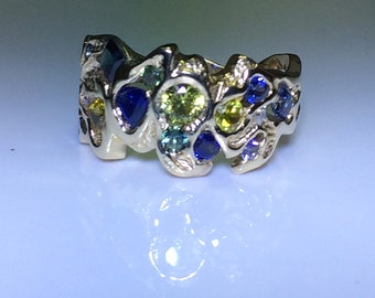 9ct Yellow Gold Freeform Nuggetty Ring with Multiple Sapphires and Diamonds
