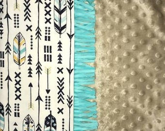 Boho Feathers & Arrows Baby Blanket