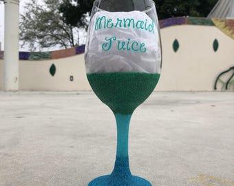 Mermaid Juice Wine Glitter Glass