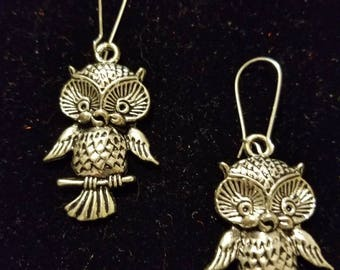Boutique Silver Alloy Dangling Cute Owl Earrings