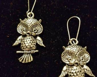 Boutique Silver Alloy Dangling Cute Owl Earrings