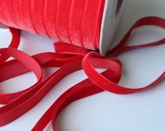 3/8 inch Simply Red Velveteen Ribbon by the Yard / 10 MM Velveteen Ribbon / Velvet / Simply Red / ER-V250