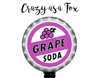 Up Grape Soda Bottlecap image Retractable Badge Holder, Badge Reel, Lanyard, Stethoscope ID Tag, Nurse, RN, MD, Student  Gift