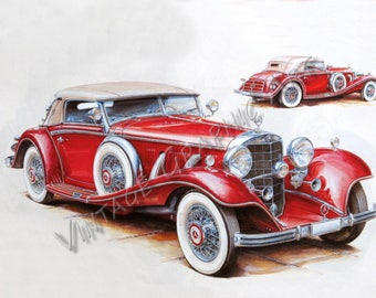 Set Of 4 Old Cars Clipart Printable Illustration For Decoupage Wall Art Prints Collages