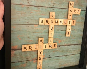 Wood letter family picture
