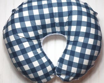 Boppy Pillow Cover | Nursing Pillow Cover | Boppy Cover | Beautiful Navy and White with White Minky