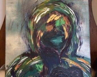 "Black Soul, Acrylic human representation painting on 20""x17"" canvas"