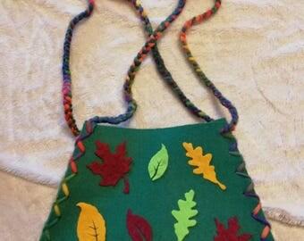 Green felt bag with autumn leaves