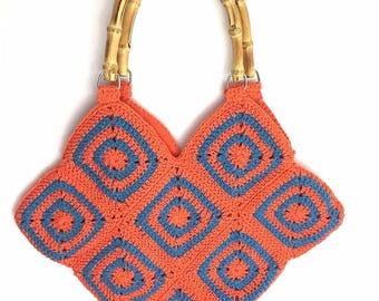 Handmade Crochet Bag Orange Blue Bright Tote Bamboo Handles Retro Granny Square