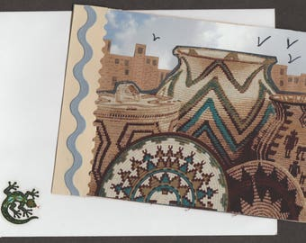 Unique Southwest Pueblo Indian Handmade Greeting Card Just-A-Note