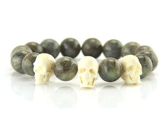 "Labradorite ball Armand ""skulls"" made of real bone-made skulls"
