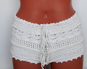 Shorts crochet Cotton White shorts Lace shorts Boho shorts Crochet beach shorts Summer shorts Sexy shorts Cotton beach shorts malingabashort