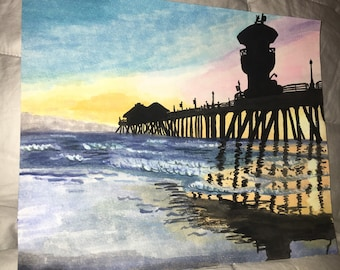 Huntington Beach Pier Watercolor