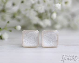 Beige Square Stud Earrings, Minimalist Square Earrings, Simple Earrings Beige, Geometric Earrings, Wedding earrings, Bridesmaid Jewelry