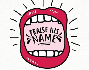 Praise His Name download // digital download // instant download // PDF // Christian // Jesus // Christian art // illustration