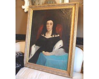 ANTIQUE 18th C Original Oil PAINTING Beautiful portrait