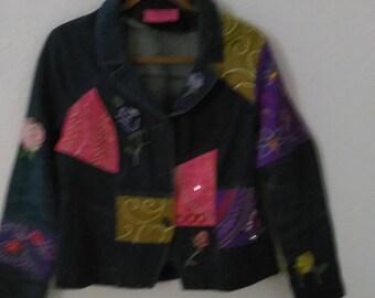 Embellished denim blazer