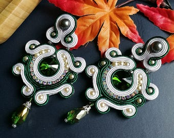 Elegant Emerald Crystal Soutache Earrings Statement Dangle Drop Earrings Unique Boho Chic Wedding Earrings Green and White