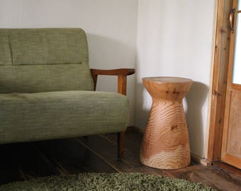 Wooden Side Table Object Hourglass