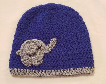 Boys crochet beanie with elephant accent, boys beanie, crochet winter beanie, elephant beanie