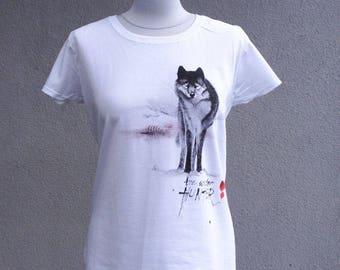 "Hand-painted T-shirt ""Winter hunter"" wolf winter"