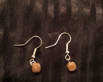 Peach Square Earrings