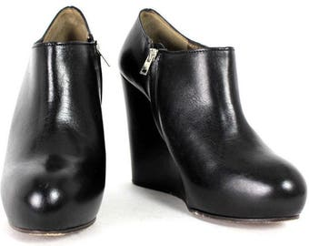 MARNI. ITALY. Black Leather Side Zip High-Heel Wedge Ankle Booties