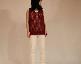 Open Knit Cranberry Sleeveless Knit Top, S/M