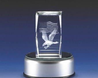 3D Glass Laser Cube Eagle