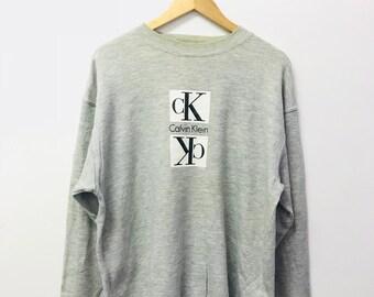 FREE SHIPPING!!! Vintage 90's Calvin klein Sweatshirt Big Logo Spellout Large Size