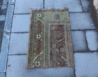 Small sizes decorative boho rug, Free Shipping 1.8 x 2.8 ft. oushak rug, turkish rug, anatolian floor rug, organic wool rug, MB326