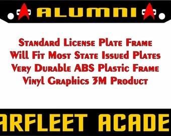 Star Trek Starfleet Academy Alumni yellow Custom license plate frame