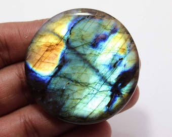 147.47cts Natural Multi flash Labradorite Round 48x48x7 mm  Labradorite loose gemstone amazing & beautifull Labradorite nice flash AA-23